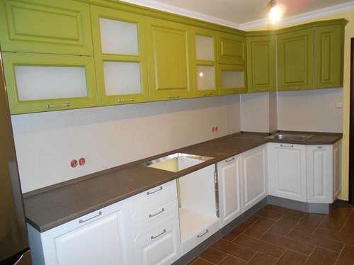 Кухня мдф оливково белая