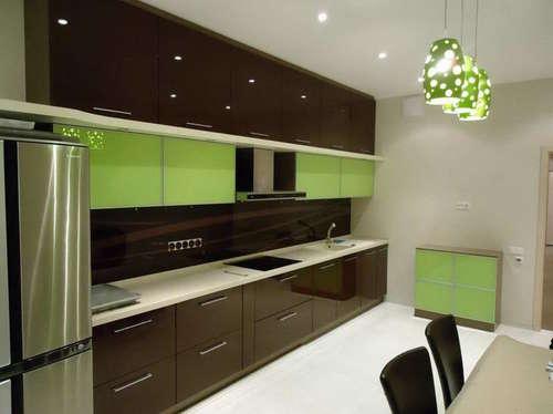 Кухня оливково коричневая 2 уровневая